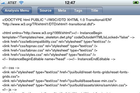 Source Listing Tab