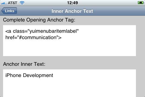 Anchor Tag Listing Details