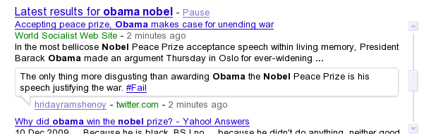 Google Real Time Search Results for Obama Nobel