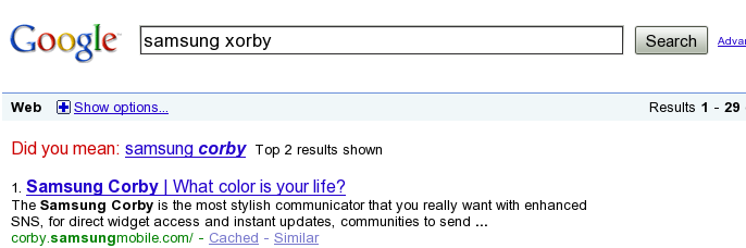 Google SERP Results for query samsung xorby