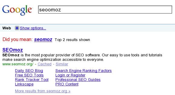 Google SERP for the query seoomoz