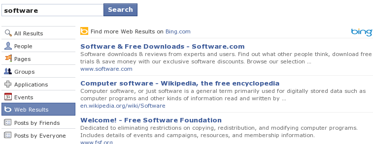 Facebook Search Results through Bing