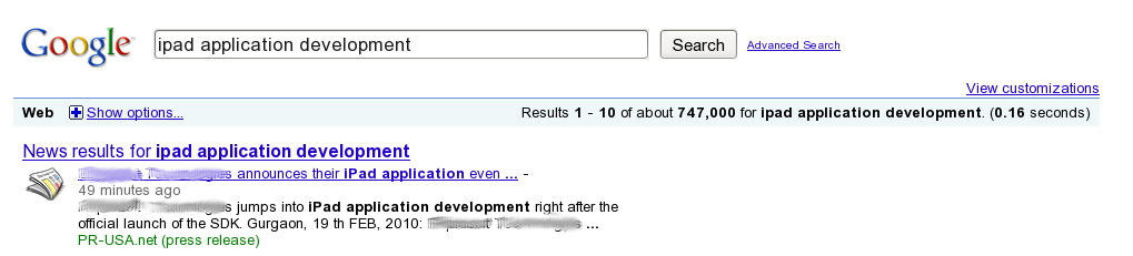 Google Search Results for ipad application development