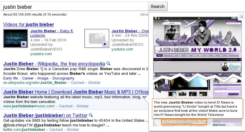 Full Page Preview in Google SERP for search justin bieber