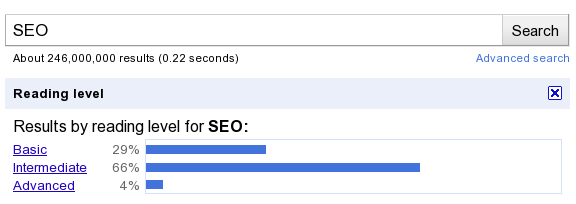 Google Advanced Search Results for SEO by Reading Levels