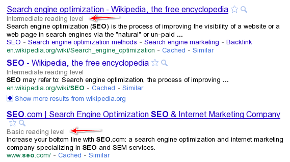 Reading Level Annotations on Google SERP
