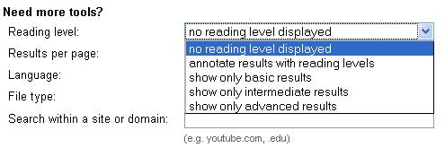 Reading Level feature in Google Advanced Search