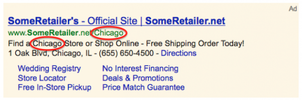 Location Insertion feature in Google AdWords